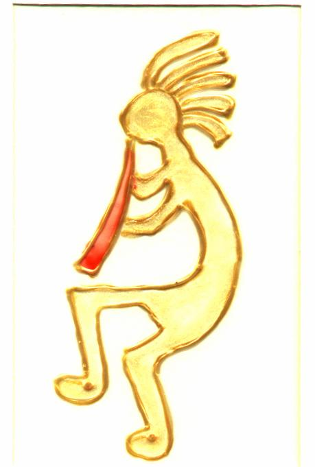 KOKOPELLI, glass painted on acetate, different colours available.