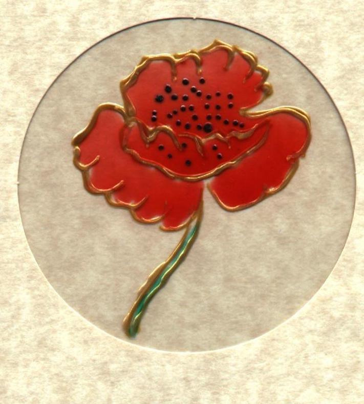 poppy, glass painted on acetate, white and cream coloured mounts