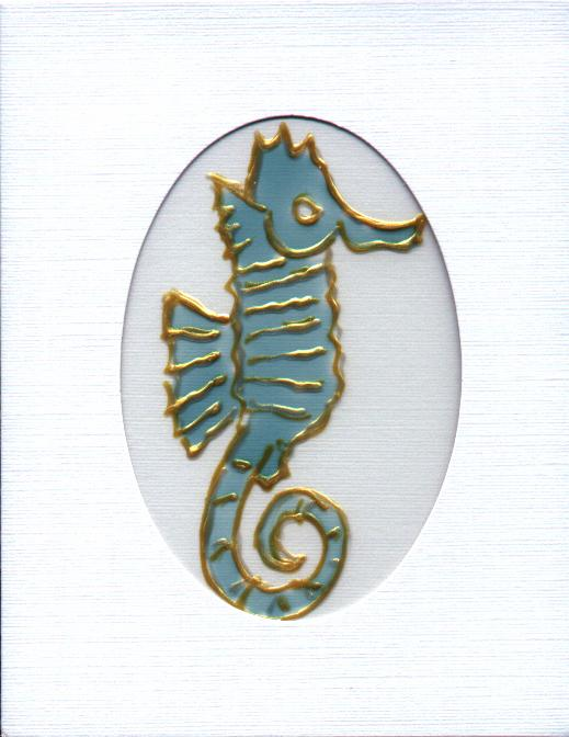 SEAHORSE glass painted on acetate in white card