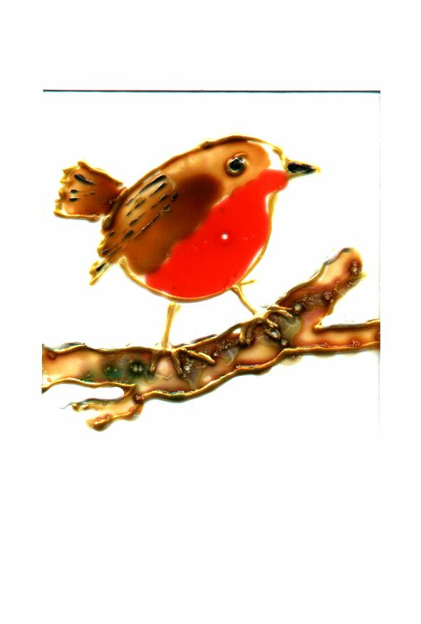 Christmas robin, glass painted
